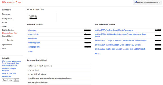 "Google Webmaster Tools ""Links to Your Site"" report."