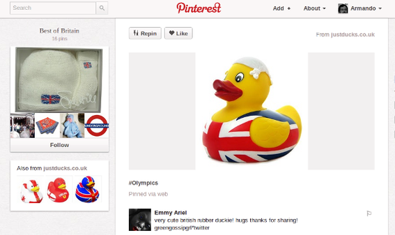 An Olympic-inspired rubber duck was pinned during the London games, potentially boosting sales.