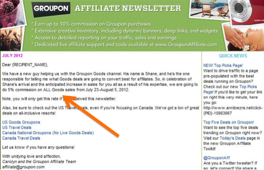 Recent Groupon email to affiliates, offering a specific commission percentage on all products.