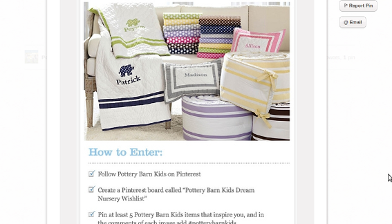 Pottery Barn Kids conducted a rather complicated multi-step pin-to-win contest.