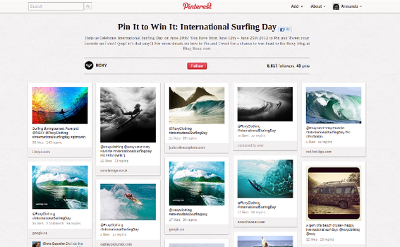 The Roxy pin-to-win contest featured surf-related images that support the company's brand.