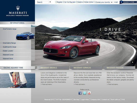 This is the Maserati website as you see it.