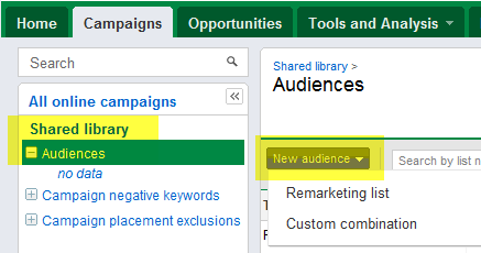 This is where you need to look if you've already created Audience groups in AdWords. If you haven't, Google's Remarketing page can walk you through creating new groups.