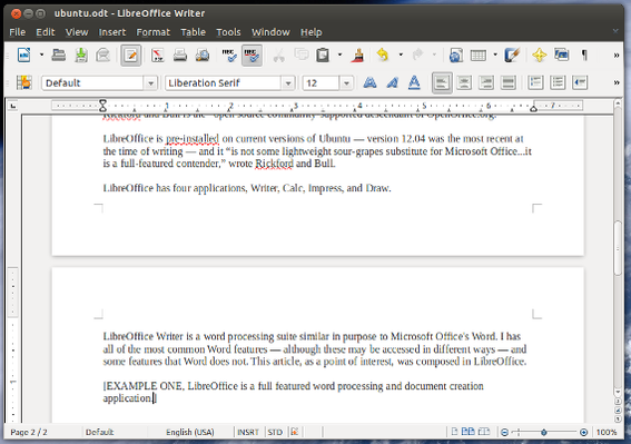 LibreOffice includes a full featured word processing and document creation application.