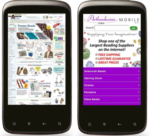 Viewing a regular site on a mobile device can be awkward, especially when compared to a mobile-friendly site.