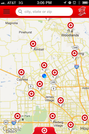The Target app uses the phone's built-in GPS to show the location of nearby stores.
