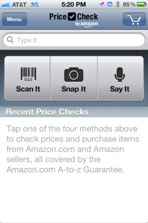 Amazon's Price Check offers several mobile-specific interfaces.