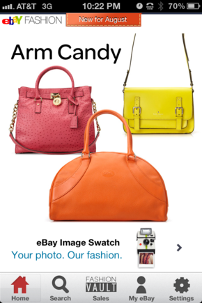 The eBay fashion app focuses on a specific aspect of its business.