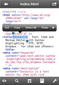 Textastic Code Editor for iPhone.