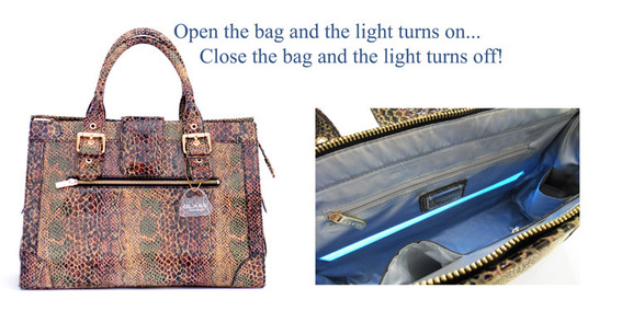 Glass Handbag has patents for the function of their handbag lights.