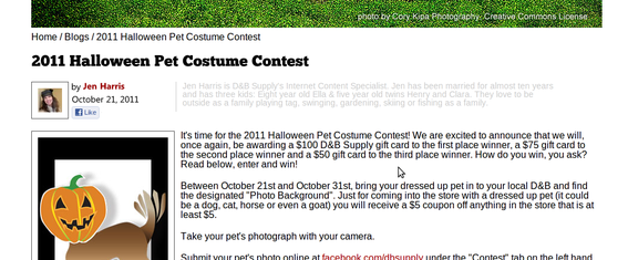 This retailer announced its 2011 pet costume contest in a blog post and on Facebook.