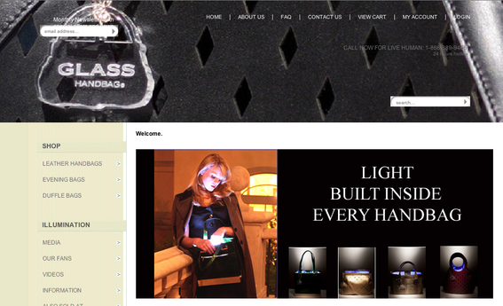 Home page, GlassHandbag.com.