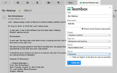 Teambox for Gmail.