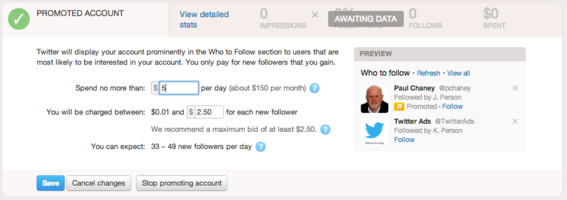 Set your budget for Promoted Accounts.