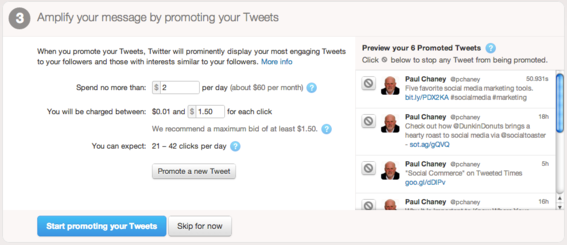 Select your budget for Promoted Tweets.