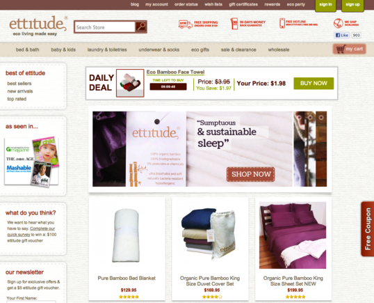 The Ettitude home page.