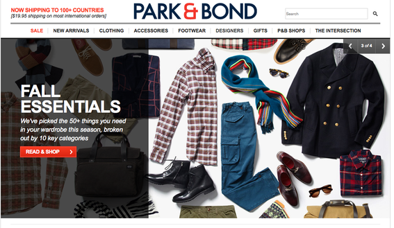 Gilt Groupe site — such as Park & Bond — stress popular brands.