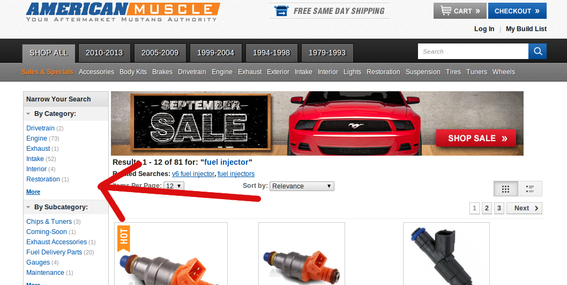 American Muscle lets shoppers filter search results.