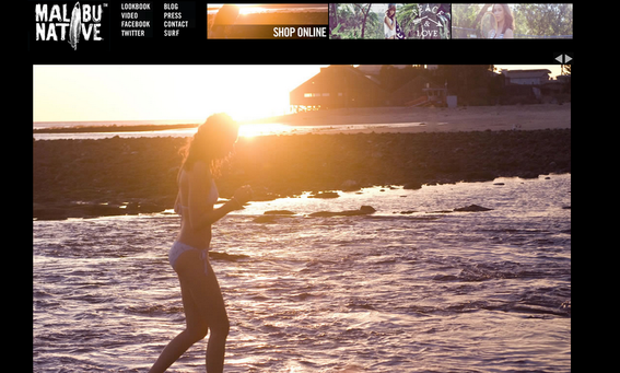 The lookbook on the Malibu Native website shows lifestyle images that convey an attitude.