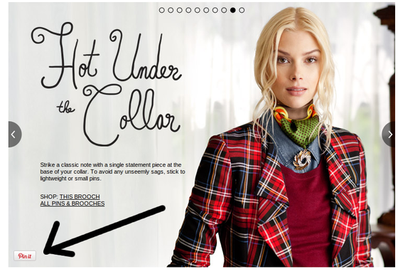 "Nordstrom's includes ""Pin It"" buttons on its lookbook photos."
