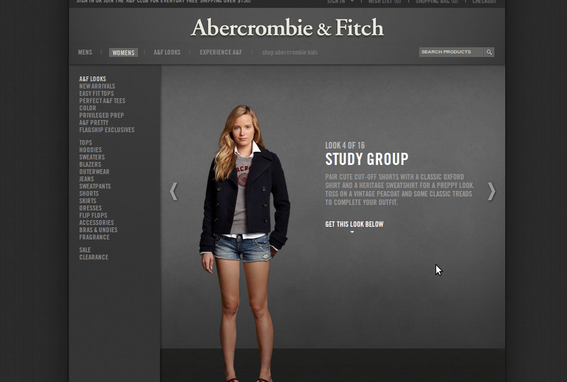 Abercrombie & Fitch lets site visitors shop directly from its lookbook.