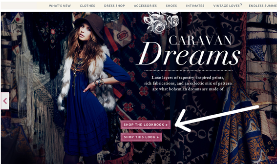Free People centers its shopping links directly over each lookbook image.