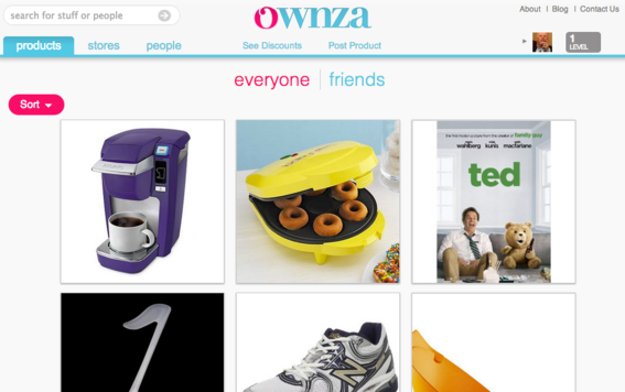 Social shopping site Ownza resembles Pinterest.
