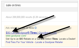 This pay-per-click ad from Goodyear contains a rebate offer.