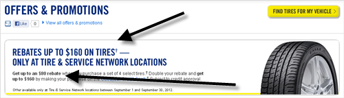 This landing page from Goodyear repeats the rebate offer from the pay-per-click ad.