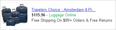 This Product Listing Ad, from Luggage Online, can be easily changed to include holiday-related text.