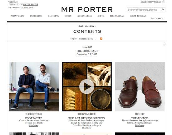 The Journal on the Mr. Porter site puts business blogging on par with magazines.