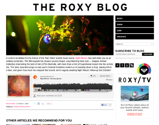 The Roxy Blog's content is audience centric.