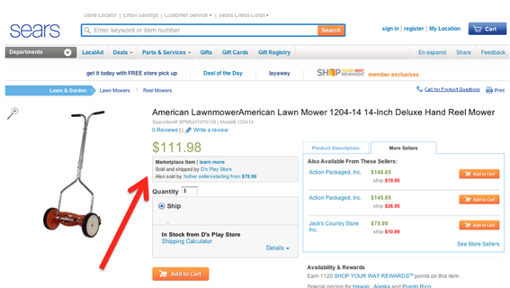 "Even Sears.com now offers a marketplace for third-party merchants. In this example, a lawnmower is offered for sale at Sears.com from an independent retailer, ""D's Play Store."""