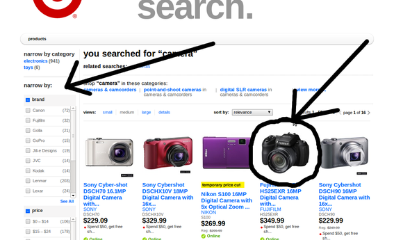 Target treats its search results pages like a product category page.