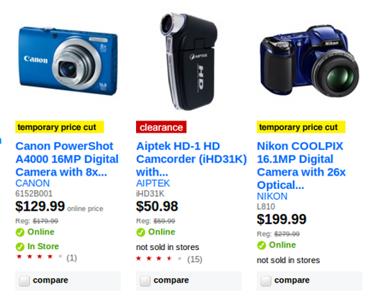 Target indicates which items are on sale in its search results.