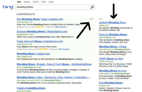 Bing displays PPC ads above and to the right of search results.