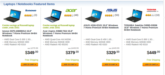 Newegg places product reviews inline with product images on category pages.