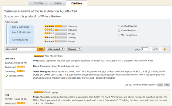 Newegg devotes an entire tab to reviews on product detail pages.
