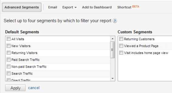 "Select up to four segments and click ""Apply."" These segments will then be applied to all reports until you re-open the window and deselect them."