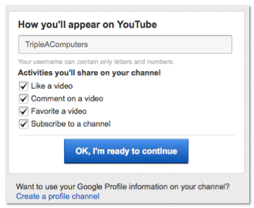 Select activities you would like to share on YouTube.
