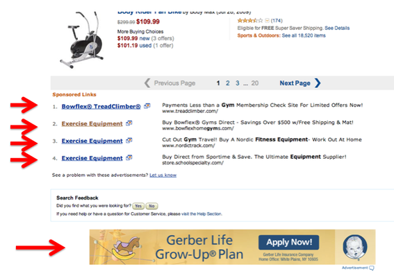 "Searching ""exercise equipment"" at Amazon produced these ads at the bottom of the search results."