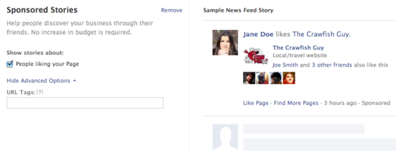 Facebook includes Sponsored Stories as one advertising option.