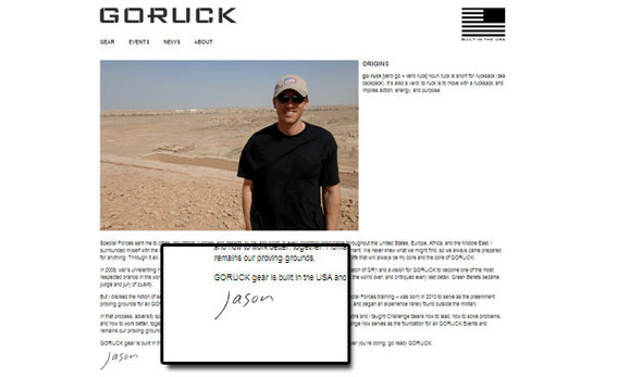 Having a human face, if you will, helps shoppers connect with Goruck.