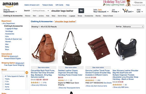 "Amazon search results for ""shoulder bags leather."""