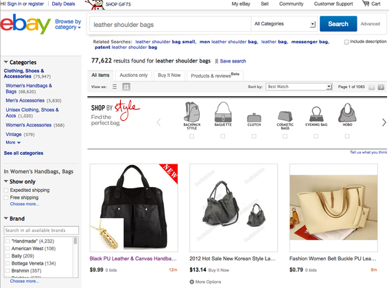 "eBay search results for ""leather shoulder bags."""