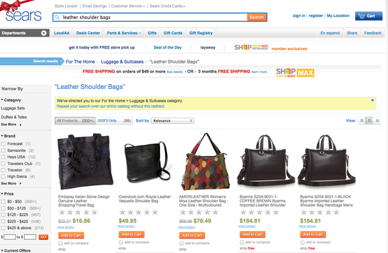 "Sears search results for ""leather shoulder bags."""