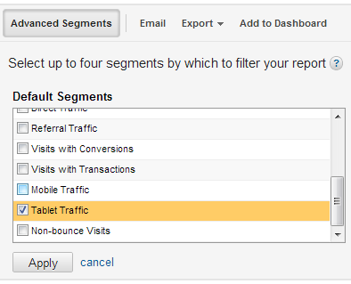 Click on Advanced Segments at the top of the Google Analytics window and choose Tablet Traffic.