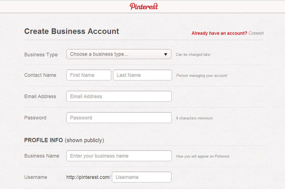 Pinterest does require business pages to provide some information about business type, contacts, and public profile.