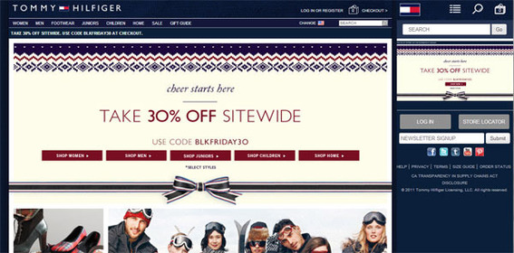 Tommy Hilfiger's American site responds to the size of the device.
