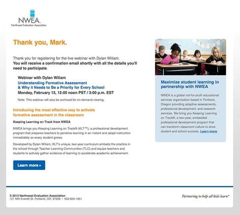 The automated email from Northwest Evaluation Association confirms a webinar signup — and provides much more information about NWEA.